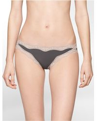 Calvin Klein - Gray Underwear Cheeky Bikini With Lace - Lyst