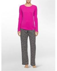 Calvin Klein | Pink Underwear Flannel Pajama Gift Set | Lyst