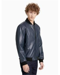 Calvin Klein - Gray Smooth Faux Leather Bomber Jacket for Men - Lyst