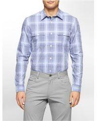 Calvin Klein - Blue Classic Fit Dobby Plaid Liquid Cotton Shirt for Men - Lyst