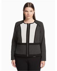 Calvin Klein Black Petite Contrast-trimmed Long-sleeve Jacket