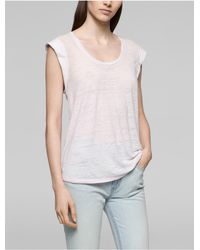 CALVIN KLEIN 205W39NYC - Pink Jeans Faded Rolled Sleeve Top - Lyst