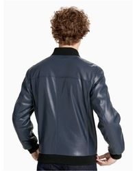 CALVIN KLEIN 205W39NYC - Gray Smooth Faux Leather Bomber Jacket for Men - Lyst