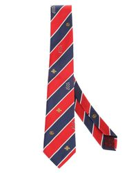 Gucci Red And Blue Striped Silk Tie With Double G for men