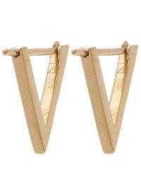 Noor Fares - Metallic Gold Tsavorite Triangle 3d Earrings - Lyst