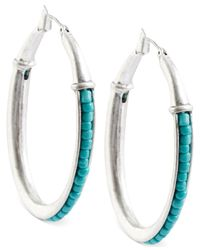 Lucky Brand - Blue Silver-tone Turquoise Beaded Hoop Earrings - Lyst