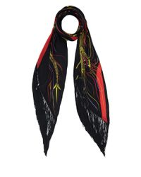 Rockins | Black Mitred Dragon Fringed Silk Scarf | Lyst