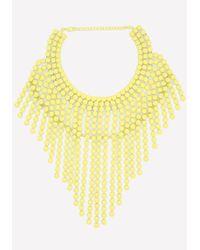 Bebe - Yellow Neon Fringe Necklace - Lyst