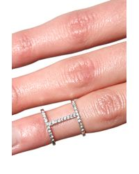 AKIRA - Metallic Cage Knuckle Ring in Silver Crystal - Lyst