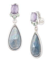 Anne Klein - Blue Crystal Teardrop Earrings - Lyst
