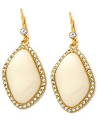T Tahari - Metallic Gold-Tone Ivory Stone And Crystal Pave Drop Earrings - Lyst