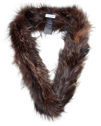 Yves Salomon | Brown Double Loop Fur Scarf | Lyst