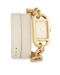 Versus - Metallic Riviera Beach Goldtone-finished Stainless Steel Double Wrap Ivory Leather Strap Watch - Lyst