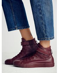 Free People | Purple Mono Leather Hi Top Chuck | Lyst