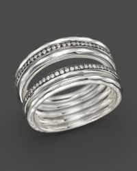 Ippolita | Metallic Sterling Silver Stella Five Band Solid Stack Ring With Diamonds | Lyst