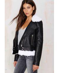 Nasty Gal - Black Tara Shearling Moto Jacket - Lyst