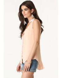 Bebe - Pink Mesh Inset Shirt - Lyst