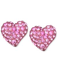 Swarovski | Pink Rhodium-plated Rose Crystal Heart Stud Earrings | Lyst