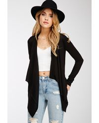 Forever 21 - Black Draped Open-front Cardigan You've Been Added To The Waitlist - Lyst