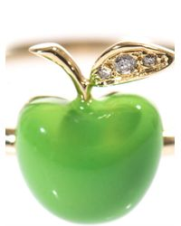 Alison Lou - Green Diamond Enamel Yellowgold Apple Ring - Lyst