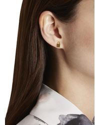 Marc By Marc Jacobs | Metallic Lock In Gold Tone Stud Earrings | Lyst