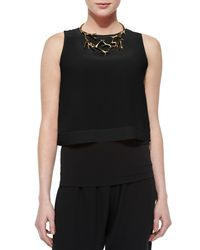 Eileen Fisher - Black Silk Cropped Top - Lyst