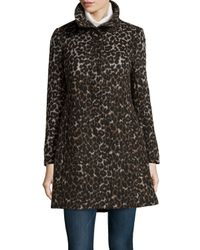 Via Spiga - Brown Leopard-print Stand-collar Coat - Lyst