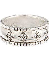 Nialaya - Metallic Cross Patterned Ring - Lyst