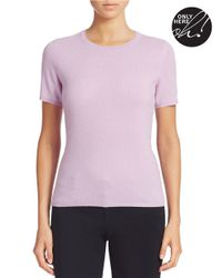 Lord & Taylor - Purple Petite Short-sleeve Cashmere Sweater - Lyst