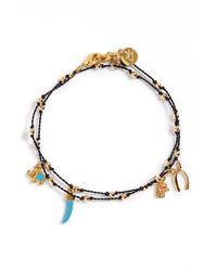Blee Inara | Black 'good Luck' Wrap Charm Bracelet | Lyst