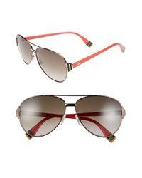 Fendi - Brown 60mm Aviator Sunglasses - Lyst
