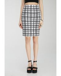 Forever 21 | White Quilted Windowpane Print Pencil Skirt | Lyst