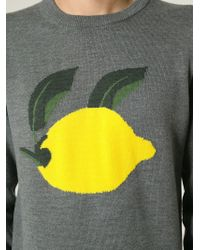 J.W.Anderson - Gray Lemon Intarsia Sweater for Men - Lyst