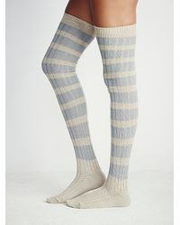 Free People | Blue Womens Hideaway Striped Otk Sock | Lyst