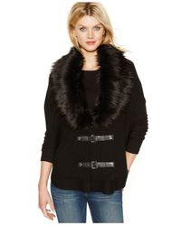 Michael Kors | Natural Michael Faux-fur Buckle Poncho | Lyst