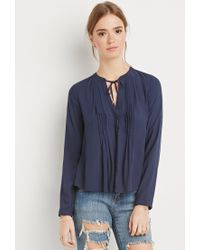 Forever 21 | Blue Pintucked Button-down Blouse | Lyst