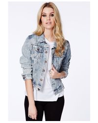 Missguided - Laverna Acid Wash Boyfriend Denim Jacket in Light Blue - Lyst