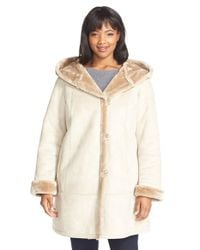 Gallery | Natural Hooded Faux Shearling A-line Coat | Lyst