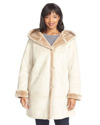 Gallery - Natural Hooded Faux Shearling A-line Coat - Lyst