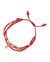 Tai - 3-Strand Red Beaded Bracelet With Hamsa Charm - Lyst