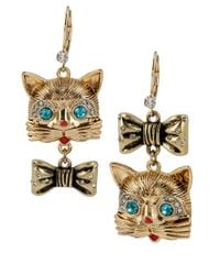 Betsey Johnson | Metallic Gold-Tone Cat And Bow Mismatch Earrings | Lyst