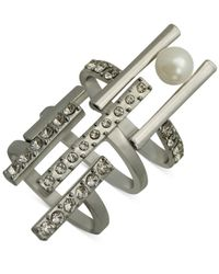 Guess | Metallic Silver-tone Crystal And Faux Pearl Ring | Lyst