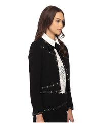 The Kooples - Black Short Jacket With Stud Leather Ribbon Details - Lyst