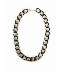 Missguided | Metal Contrast Chunky Chain Necklace Black | Lyst