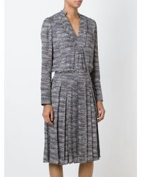 Tory Burch - Gray Marled Pleated Dress - Lyst