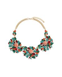 TOPSHOP - Blue Premium Crackle Stone Flower Necklace - Lyst