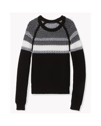 Theory | Black Larus Canon Striped Wool Sweater | Lyst
