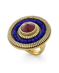 Vince Camuto | Metallic 'belle Of The Bazaar' Large Statement Ring - Worn Gold/ Burgundy/ Blue | Lyst