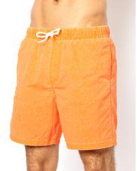 ASOS - Orange Swim Shorts with Acid Wash in Mid Length for Men - Lyst