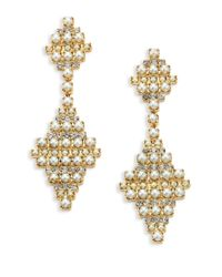 DANNIJO | Metallic Sylvie Crystal & Faux Pearl Drop Earrings | Lyst